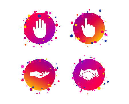 Hand icons. Handshake successful business symbol. Click here press sign. Human helping donation hand. Gradient circle buttons with icons. Random dots design. Vector