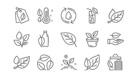 Icone della linea di piante. Foglia, pianta in crescita e termometro di umidità. Insieme dell'icona lineare di goccia d'acqua. Vettore Vettoriali