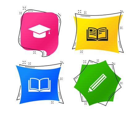 Pencil and open book icons. Graduation cap symbol. Higher education learn signs. Geometric colorful tags. Banners with flat icons. Trendy design. Vector