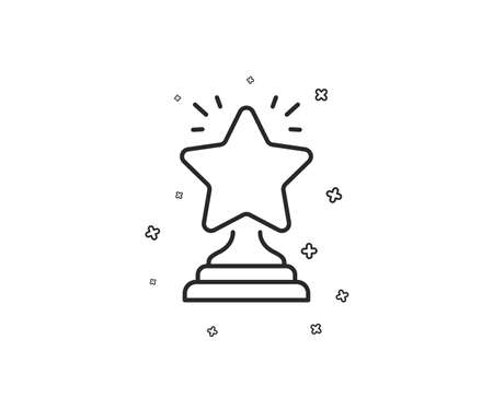 Rank star line icon. Success reward symbol. Best result sign. Winner cup. Geometric shapes. Random cross elements. Linear Winner icon design. Vector