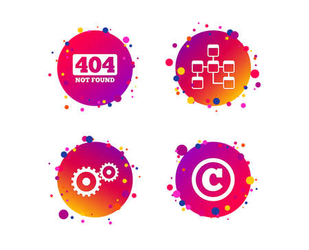 Website database icon. Copyrights and gear signs. 404 page not found symbol. Under construction. Gradient circle buttons with icons. Random dots design. Vector