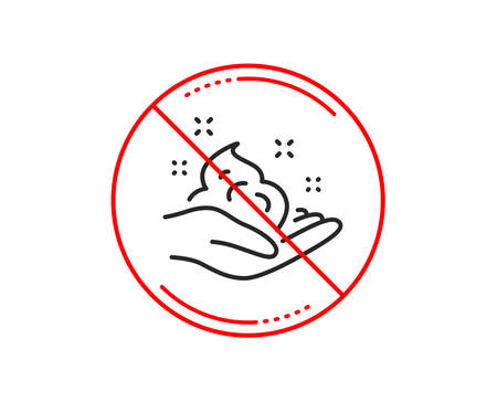 No or stop sign. Hand cream line icon. Skin care Gel or lotion sign. Caution prohibited ban stop symbol. No  icon design.  Vector