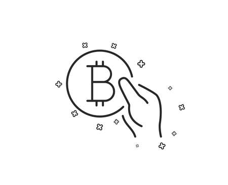 Bitcoin pay line icon. Cryptocurrency coin sign. Crypto money symbol. Geometric shapes. Random cross elements. Linear Bitcoin pay icon design. Vector