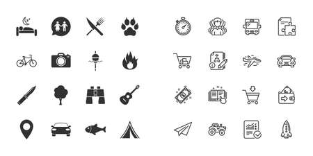 Set of Travel, Hiking and Camping icons. Fishing, Biking and WC toilet signs. Tourist tent, Food and Bed symbols. Photo and Rent a car. Paper plane, report and shopping cart icons. Group of people Illustration