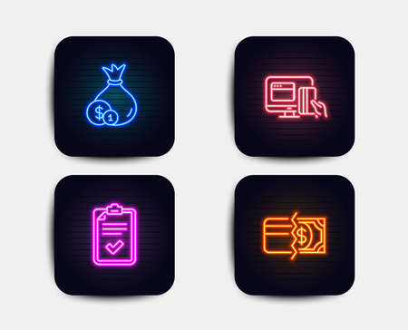 Neon glow lights. Set of Checklist, Cash and Online payment icons. Payment methods sign. Survey, Banking currency, Money. Credit card.  Neon icons. Glowing light banners. Vector
