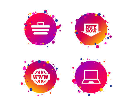 Online shopping icons. Notebook pc, shopping cart, buy now arrow and internet signs. WWW globe symbol. Gradient circle buttons with icons. Random dots design. Vector