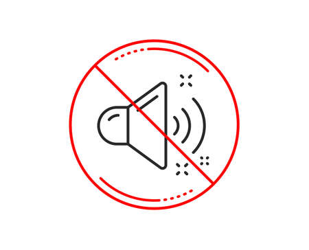 No or stop sign. Loud sound line icon. Music sound sign. Musical device symbol. Caution prohibited ban stop symbol. No  icon design.  Vector Illustration