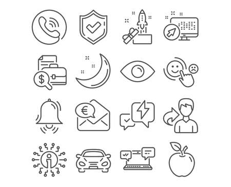 Set of Car, Eye and Innovation icons. Accounting report, Clock bell and Customer satisfaction signs. Internet chat, Lightning bolt and Euro money symbols. Transport, View or vision, Crowdfunding Illustration