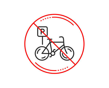 No or stop sign. Bicycle parking line icon. Bike park sign. Public transport place symbol. Caution prohibited ban stop symbol. No  icon design.  Vector