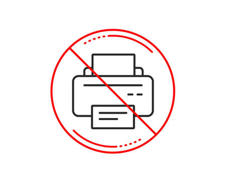 No or stop sign. Printer icon. Printout Electronic Device sign. Office equipment symbol. Caution prohibited ban stop symbol. No  icon design.  Vector 向量圖像