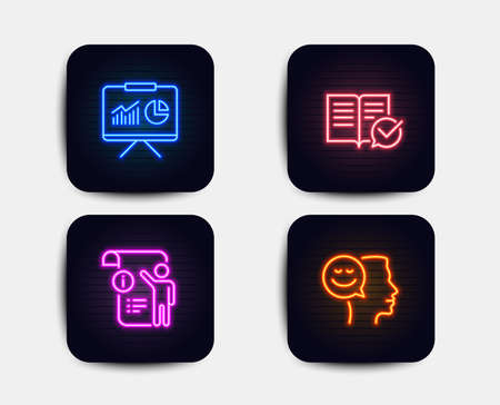 Neon glow lights. Set of Manual doc, Presentation and Approved documentation icons. Good mood sign. Project info, Board with charts, Instruction book. Positive thinking.  Neon icons. Vector