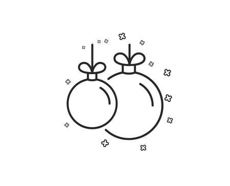 Christmas ball line icon. New year tree decoration sign. Geometric shapes. Random cross elements. Linear Christmas ball icon design. Vector