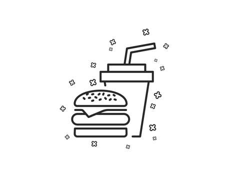 Hamburger with drink line icon. Fast food restaurant sign. Hamburger or cheeseburger symbol. Geometric shapes. Random cross elements. Linear Hamburger icon design. Vector Illustration