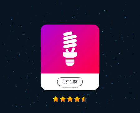 Fluorescent lamp bulb sign icon. Energy saving. Idea and success symbol. Web or internet icon design. Rating stars. Just click button. Vector