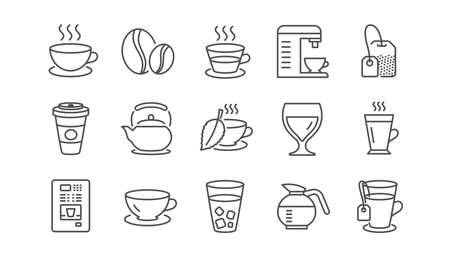 Coffee and Tea line icons. Cappuccino, Teapot and Coffeepot. Coffee beans linear icon set.  Vector Stock Illustratie