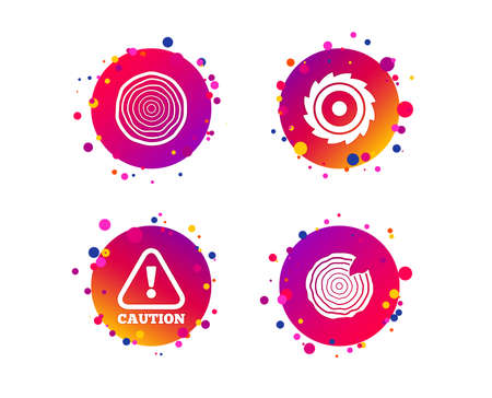 Wood and saw circular wheel icons. Attention caution symbol. Sawmill or woodworking factory signs. Gradient circle buttons with icons. Random dots design. Vector Zdjęcie Seryjne - 124722064