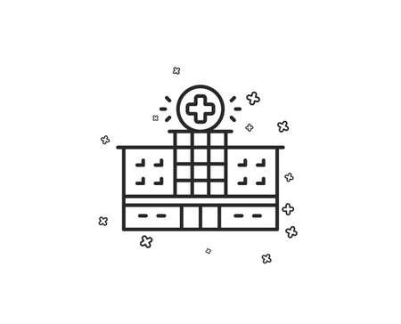 Hospital building line icon. Medical help sign. Geometric shapes. Random cross elements. Linear Hospital building icon design. Vector Illustration