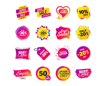 Sale banner templates design. Special offer tags. Cyber monday sale discounts. Black friday shopping icons. Best ultimate offer. Super shopping discount icons. Vector