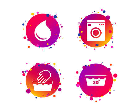 Hand wash icon. Machine washable at 30 degrees symbols. Laundry washhouse and water drop signs. Gradient circle buttons with icons. Random dots design. Vector Ilustrace