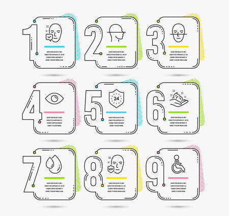 Infographic template with numbers 9 options. Set of 24 hours, Skin care and Face scanning icons. Uv protection, Face accepted and Oil drop signs. Eye, Disabled symbols. Vector