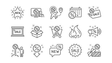 Discount line icons. Shopping, Sale and New. Hot offer linear icon set.  Vector