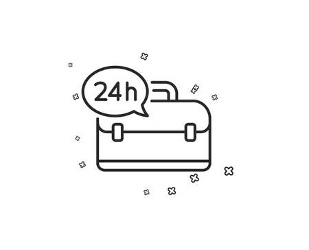 24 hour service line icon. Support help sign. Feedback symbol. Geometric shapes. Random cross elements. Linear 24h service icon design. Vector Illustration