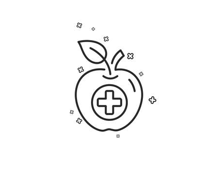 Medical food line icon. Health apple sign. Geometric shapes. Random cross elements. Linear Medical food icon design. Vector