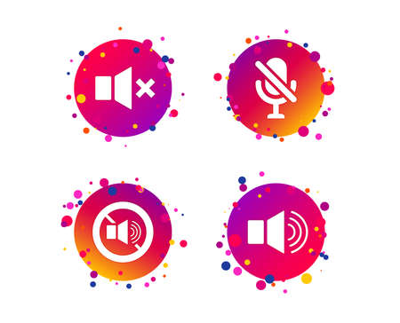 Player control icons. Sound, microphone and mute speaker signs. No sound symbol. Gradient circle buttons with icons. Random dots design. Vector