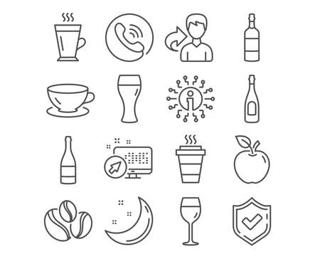 Set of Espresso, Brandy bottle and Champagne icons. Wine glass, Beer glass and Latte signs. Takeaway, Champagne bottle and Coffee-berry beans symbols. Coffee cup, Whiskey, Celebration drink. Vector
