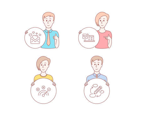 People hand drawn style. Set of Correct answer, Love mail and Online survey icons. Keywords sign. Speed symbol, Valentines letter, Quiz test. Marketing strategy.  Character hold circle button. Vector