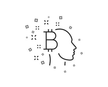 Bitcoin think line icon. Cryptocurrency head sign. Crypto money symbol. Geometric shapes. Random cross elements. Linear Bitcoin think icon design. Vector