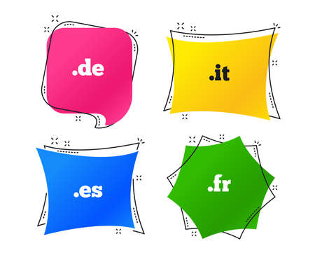 Top-level internet domain icons. De, It, Es and Fr symbols. Unique national DNS names. Geometric colorful tags. Banners with flat icons. Trendy design. Vector