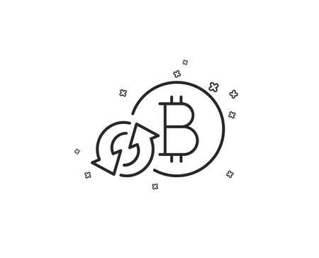 Icono de línea de Bitcoin. Actualizar signo de moneda criptomoneda. Símbolo de dinero criptográfico. Formas geométricas. Elementos cruzados aleatorios. Diseño de icono de actualización lineal bitcoin. Vector