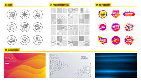 Seamless pattern. Shopping mall banners. Set of Atm money, International globe and Face accepted icons. Tea bag, Artificial intelligence and Business portfolio signs. Vector Иллюстрация