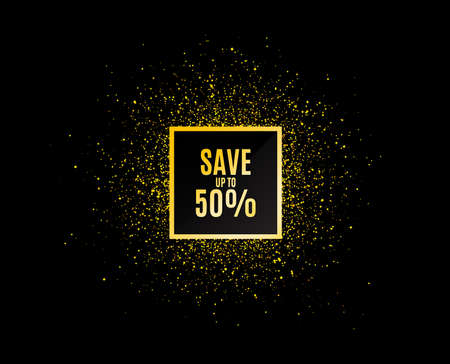 Gold glitter banner. Save up to 50%. Discount Sale offer price sign. Special offer symbol. Christmas sales background. Abstract shopping banner tag. Template for design. Vector