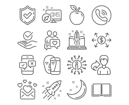 Set of Dating chat, Approved and Start business icons. Book, Face biometrics and Phone survey signs. Love mail, Dollar exchange and Startup rocket symbols. People love, Verified symbol, Launch idea Ilustracja