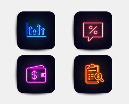 Neon glow lights. Set of Upper arrows, Dollar wallet and Discount message icons. Accounting report sign. Growth infochart, Cash money, Special offer. Check finance.  Neon icons. Glowing light banners