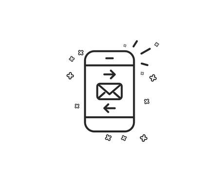 Mail line icon. Smartphone communication symbol. Business chat sign. Geometric shapes. Random cross elements. Linear Mail icon design. Vector