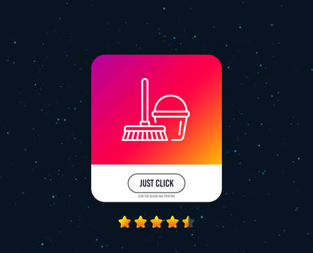 Cleaning bucket with mop line icon. Washing Housekeeping equipment sign. Web or internet line icon design. Rating stars. Just click button. Vector