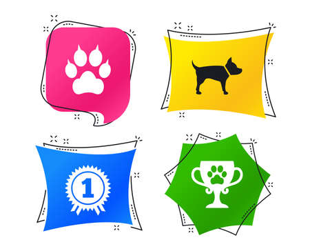 Pets icons. Cat paw with clutches sign. Winner cup and medal symbol. Dog silhouette. Geometric colorful tags. Banners with flat icons. Trendy design. Vector