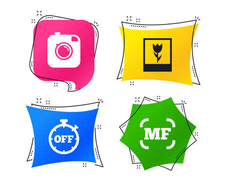 Hipster retro photo camera icon. Manual focus symbols. Stopwatch timer off sign. Macro symbol. Geometric colorful tags. Banners with flat icons. Trendy design. Vector