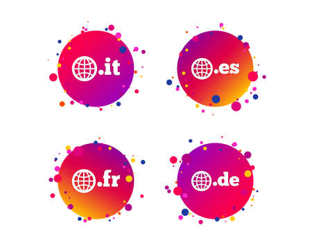 Top-level internet domain icons. De, It, Es and Fr symbols with globe. Unique national DNS names. Gradient circle buttons with icons. Random dots design. Vector Illustration