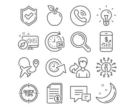 Set of Update time, Idea and Mobile finance icons. 24h delivery, Airplane and Tips signs. Comment, Research and Financial documents symbols. Refresh watch, Light bulb, Phone accounting. Vector
