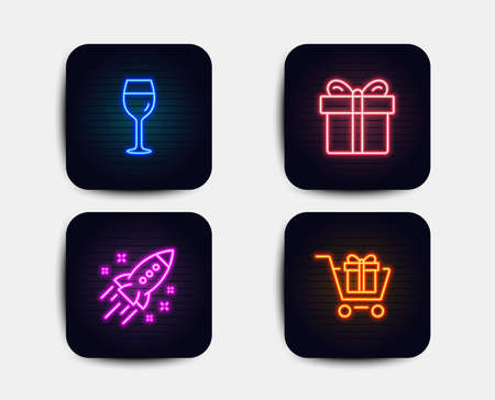 Neon glow lights. Set of Startup rocket, Gift box and Wine glass icons. Shopping cart sign. Business innovation, Present package, Bordeaux glass. Gift box.  Neon icons. Glowing light banners. Vector Illustration