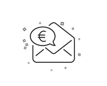 Euro via mail line icon. Send or receive money sign. Geometric shapes. Random cross elements. Linear Euro money icon design. Vector