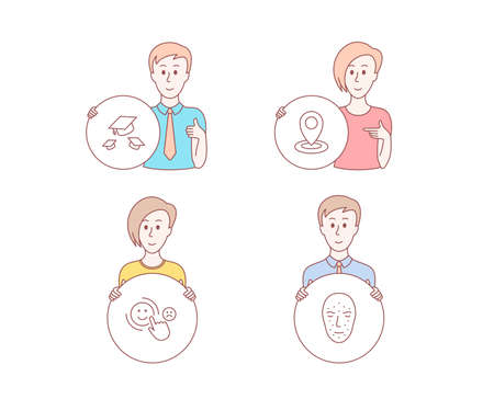 People hand drawn style. Set of Throw hats, Customer satisfaction and Location icons. Face biometrics sign. College graduation, Happy smile, Map pointer. Facial recognition. Vector Illustration