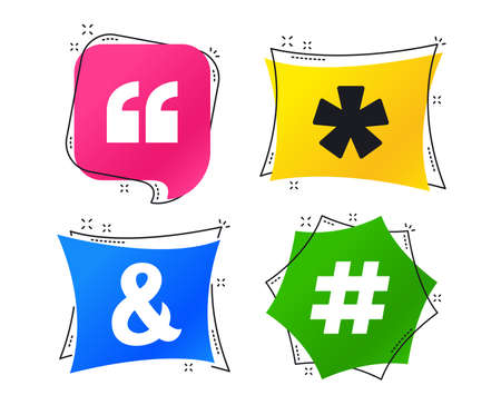 Quote, asterisk footnote icons. Hashtag social media and ampersand symbols. Programming logical operator AND sign. Geometric colorful tags. Banners with flat icons. Trendy design. Vector Stock Illustratie