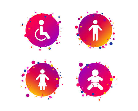 WC toilet icons. Human male or female signs. Baby infant or toddler. Disabled handicapped invalid symbol. Gradient circle buttons with icons. Random dots design. Vector Vetores