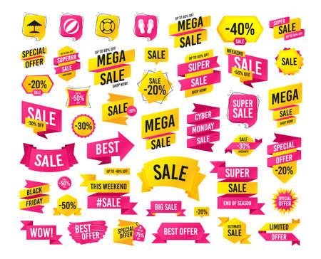 Sales banner. Super mega discounts. Beach holidays icons. Ball, umbrella and flip-flops sandals signs. Lifebuoy symbol. Black friday. Cyber monday. Vector