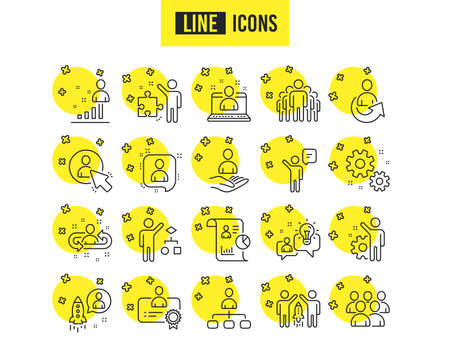 Management line icons. Set of Business audit, Startup strategy and Employees linear icons. Business strategy, Startup and Teamwork symbols. Organization management, report and Group algorithm signs